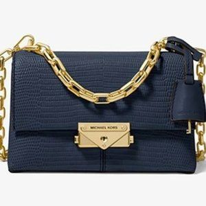 Cece Extra-Small Embossed Navy Blue Leather Bag